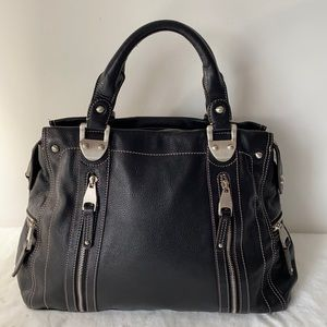 B. Makowsky Black Leather Satchel Purse--EUC